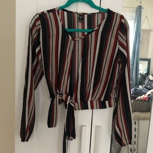 Windsor striped open front blouse